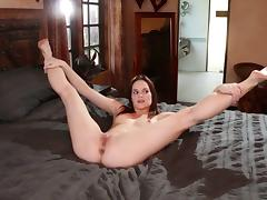 Flexible babes strip down and have lesbian sex all over the house