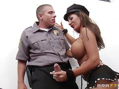 Brunette with fake tits gets a full cavity search by the security guy