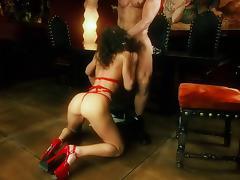 Naomi, wearing high heels, enjoys ardent rear banging indoors