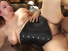 Chubby Reyna Slade in a black corset fucked in her hairy fat pussy porn tube video