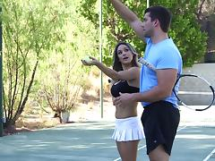 Tennis instructor and boyfriend share the babe in a threesome