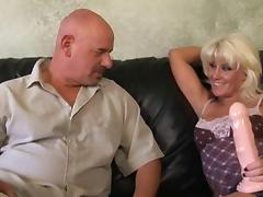 Blonde Girl Big Dildo Strapon