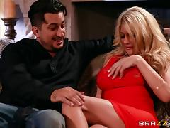 Gifted stud impales a fake tits blonde on his big cock