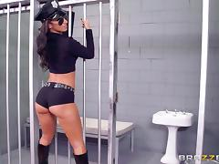 Oiled up police sluts use their prisoner in a hot jail threesome tube porn video