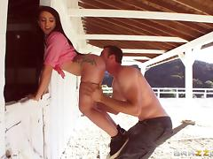 Mandy Muse starts the action by the stables and finishes up inside