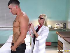Super hot doctor performs a full body inspection with her pussy