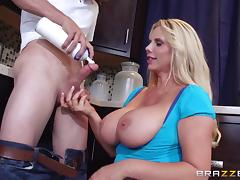 Busty housewife gets a special dessert after dinner tube porn video