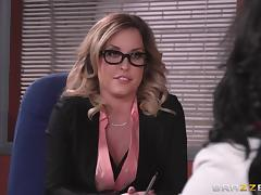 Delicious big tit blonde getting her pussy ravished in the office