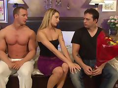 Hot slut gets her mouth cum filled after shagging two guys