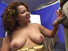 Chubby cougar with huge natural tits enjoying an awesome threesome