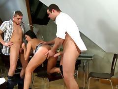 Vivacious brunette with big boobs enjoying a hardcore threesome