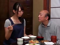 After dinner this Asian girl gives a guy a blowjob in a restaurant