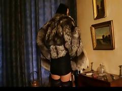 Hot Brunette in silver fox fur coat porn tube video