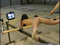 brunette slave gets punished brutally