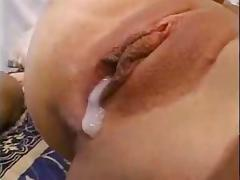 White slut gangbanged and creampied