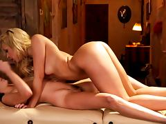 Shyla Jennings and Carmen Caliente dike out on the massage table
