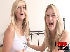 Blonde lesbians with natural tits have fun touching each other nicely