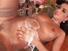 Porn star waiters gang bang brunette and serves her a healthy dose of champagne and facial cum shot porn tube video