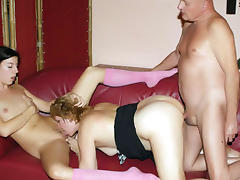 Mature and Teen, Bed, Brunette, Cunt, Group, Hardcore