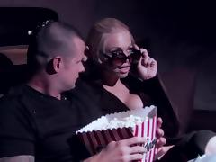 Jesse Jane give blowjob and gets banged hardcore in movie theater tube porn video