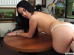Stunning Megan Rain gets bent over a table and fucked from behind
