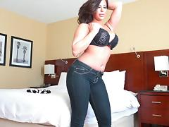 A chubby MILF slithers out of her jeans and takes a thick cock tube porn video
