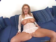 Curvy porn star with long blonde hair enjoying an interracial threesome tube porn video