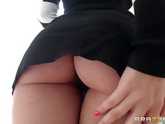 Busty pornstars play with their hot bodies and a double ended dildo