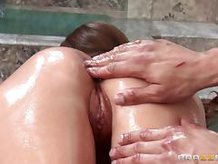 Oiled up MILF likes experimenting with different sexual poses