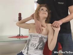 Deina sucks cock and gets shaved pussy fingered before taking cumshot