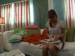 A nerdy hottie skips studying so she can get fucked