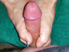 oily footjob for my big cock