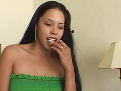Latina brunette with natural tits gets facial cumshot in close up scene