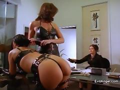 Brunette, Ass, Brunette, Leather, Panties, Thong