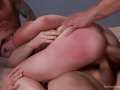 horny lady gets gang banged