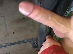 Revealing my hard cock at work