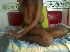 Squirt milk of my huge nipples horny black girl on webcam tube porn video