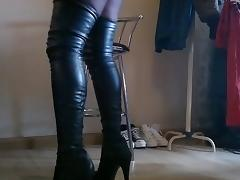 DWT  Crossdresser in new leather high boots tube porn video
