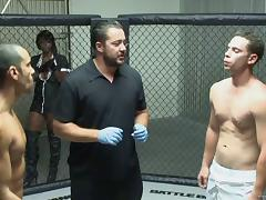 Two hot mixed martial arts players fight for hot ass chick Lexi Summers tube porn video