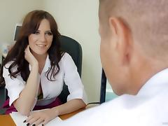 Samantha Bentley riding dick in the office after oral session porn tube video