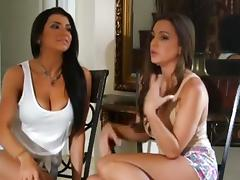 Busty brunettes in a lusty lesbian porn video