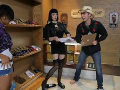 Skinny slut at the shoe store fucks a client with a big cock