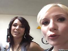 A blonde and a brunette give a great blowjob to a lucky man