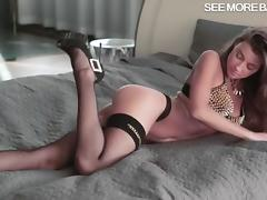 Lusty Maria masturbates her sweet pussy with a dildo