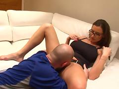 A busty bitch shows off her flexibility while getting banged
