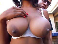 Big tits ebony enjoys white meat in her