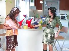 WAM nasty lesbos fighting with messy cream
