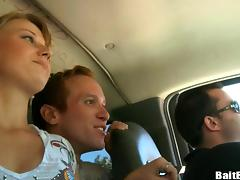 Insatiable redhead homo sucks a wang in a car in reality tape tube porn video
