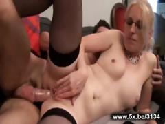 Missy a beautiful blonde analfucked in stockings