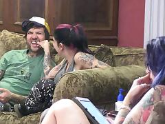 Behind the scenes of a punker couple hanging out and playing